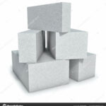 Aerated concrete wall construction blocks isolated on white background.
